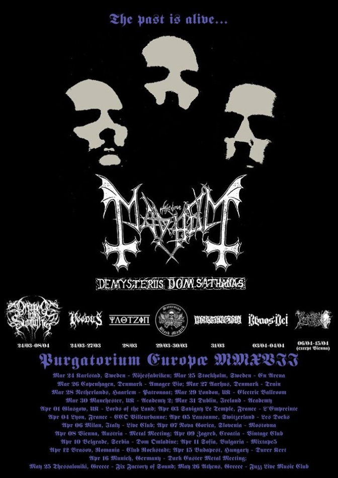 Mayhem  embark on second part of De Mysteriis Dom Sathanas tour in Europe!