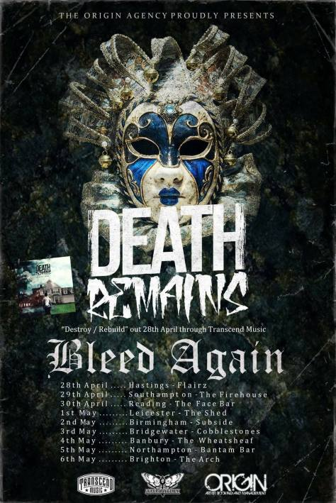 death remains tour with bleed again poster
