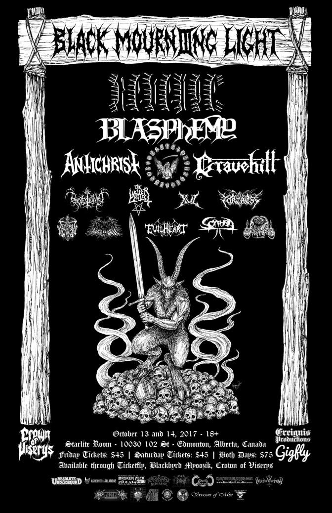 Edmonton Black & Doom Fest BLACK MOURNING LIGHT 2017 Line Up Announced! Tickets On Sale Now!