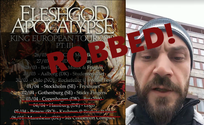 FLESHGOD APOCALYPSE Robbed In Gothenburg, Sweden
