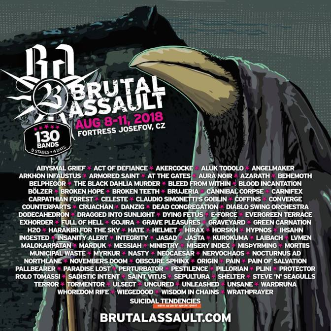 BRUTAL ASSAULT​ ​ 2018:​ ​ Return​ ​ of​ ​ Behemoth,​ ​ At​ ​ The​ ​ Gates,​ ​ Converge or​ ​ Ihsahn